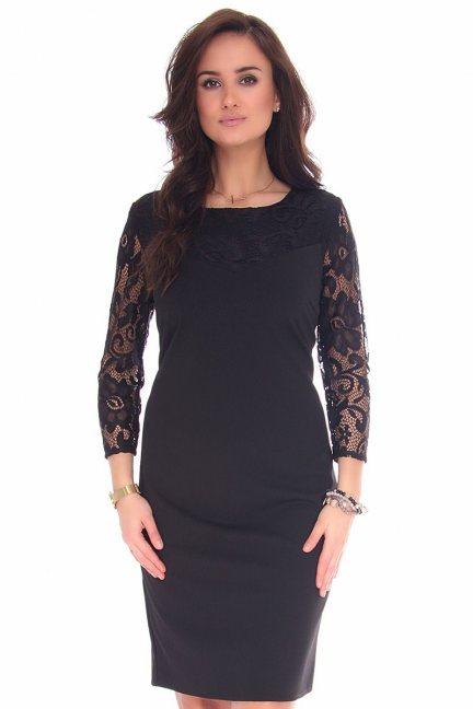 Sukienka midi z koronką CMK133 czarna