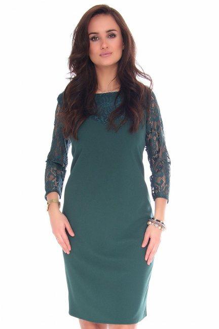 Sukienka midi z koronką CMK133 zielona