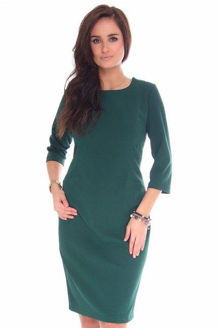 Sukienka midi ołówkowa CMK130 zielona