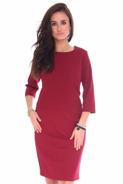Sukienka midi ołówkowa CMK130 bordowa
