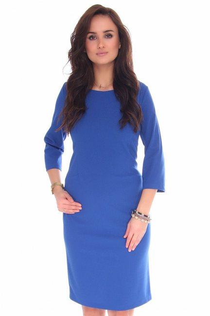 Sukienka midi ołówkowa CMK130 chabrowa