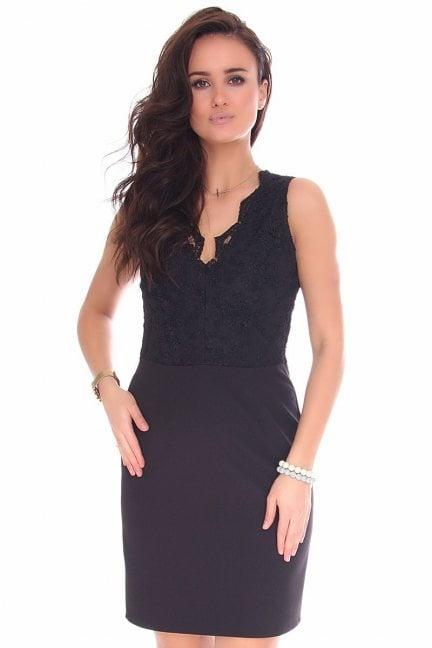 Sukienka mini z koronką CM597 czarna