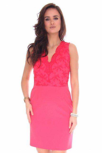Sukienka dopasowana mini z koronką koral