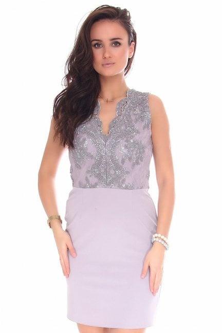 Sukienka dopasowana mini z koronką szara