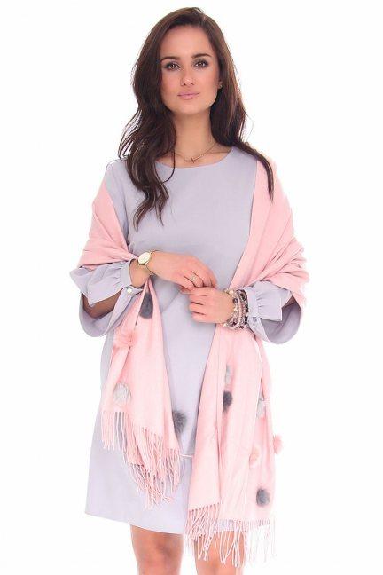 Szalik modny pompony CMS88 różowy