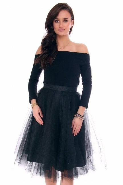 Sukienka tiulowa z koła CM379 czarna