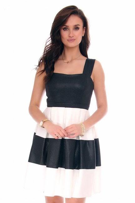 Sukienka wieczorowa CM229-1 czarno-biała