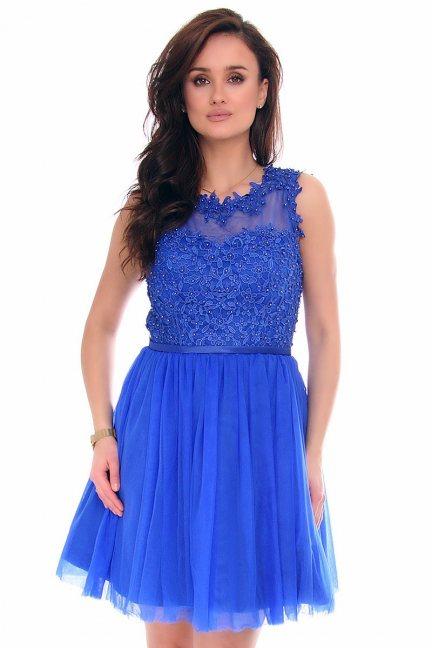 Sukienka koronkowa tiul CMK282 chabrowa