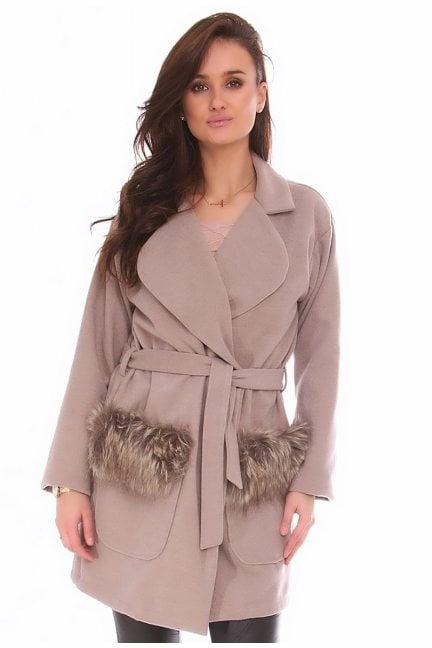 Płaszcz wiązany futerko CM517 beżowy