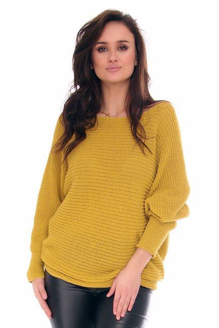 Sweter modny oversize CMK2074 musztadowy