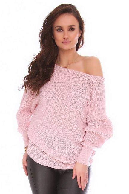 Sweter modny oversize CMK2074 różowy
