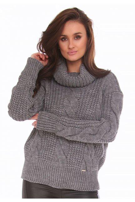 Sweter ciepły z golfem CMK2075 grafitowy