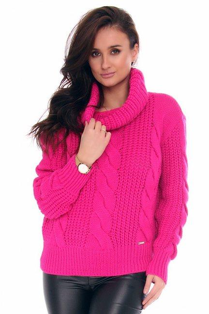 Sweter ciepły z golfem CMK2075 fuksja