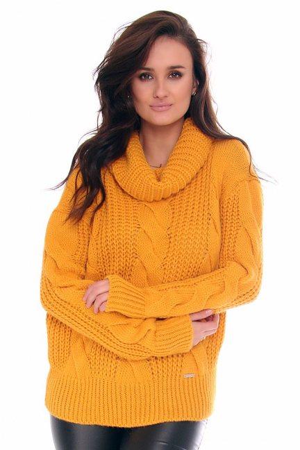 Sweter ciepły z golfem CMK2075 musztardowy