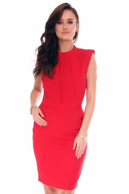 Sukienka wizytowa midi CMK134 czerwona