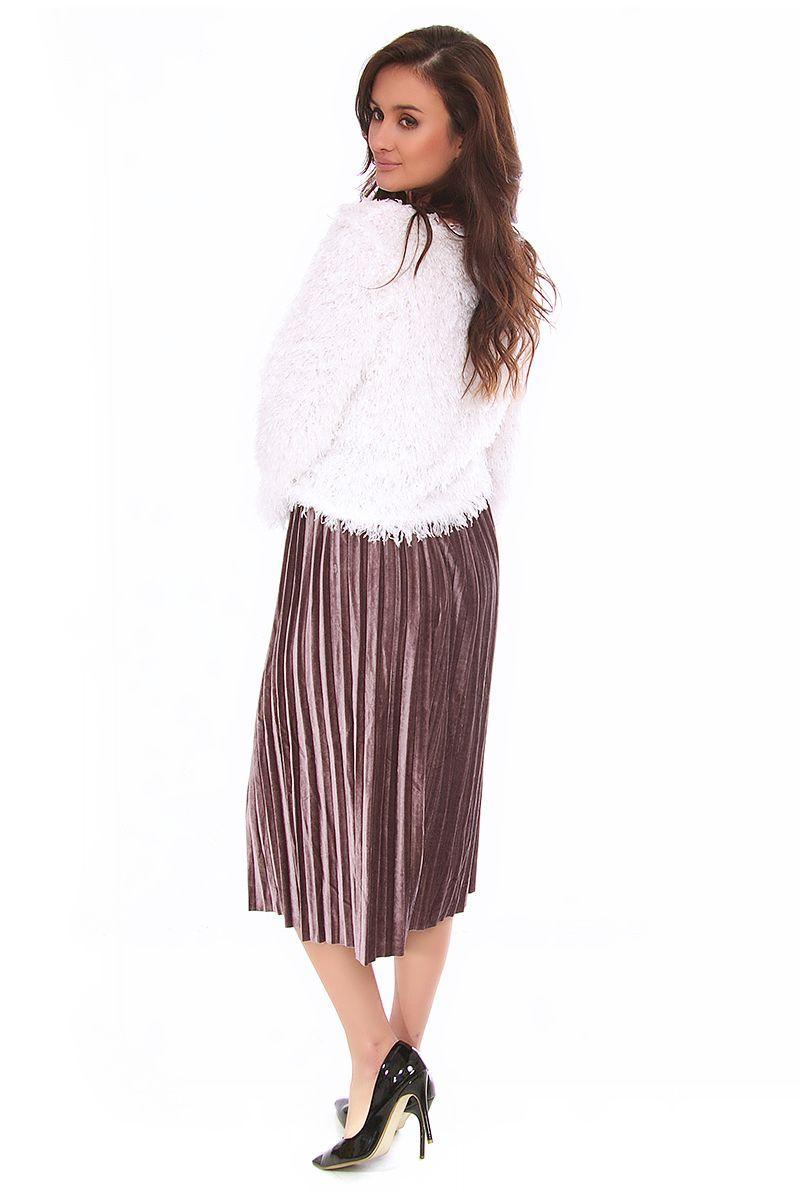 Spódnica plisowana midi CMK139 szara