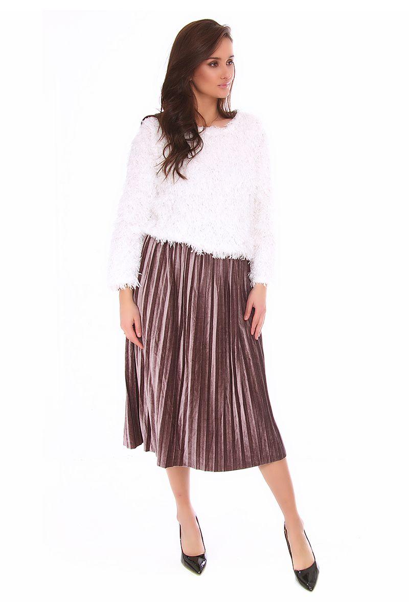 Spódnica plisowana midi CMK139 różowa modne spódnice sklep