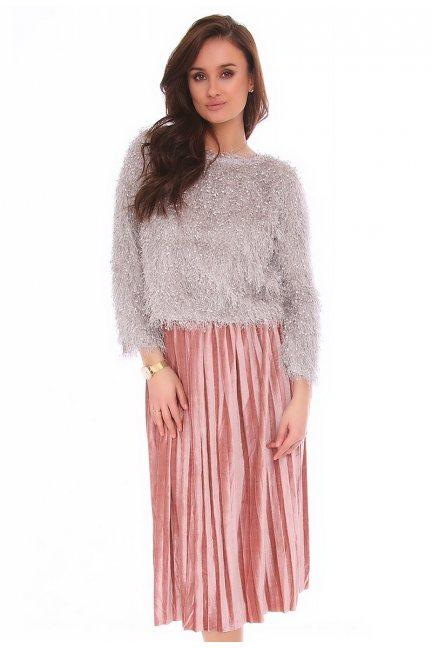 Spódnica welurowa midi CMK139 różowa