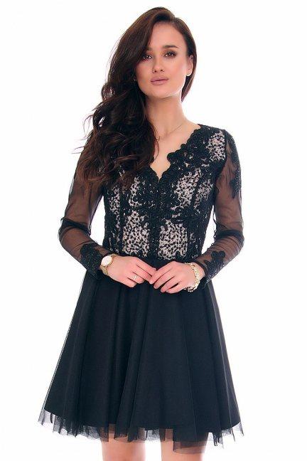 Sukienka koronka dekolt CMK140 czarna
