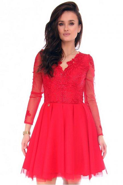 Sukienka koronka dekolt CMK140 czerwona