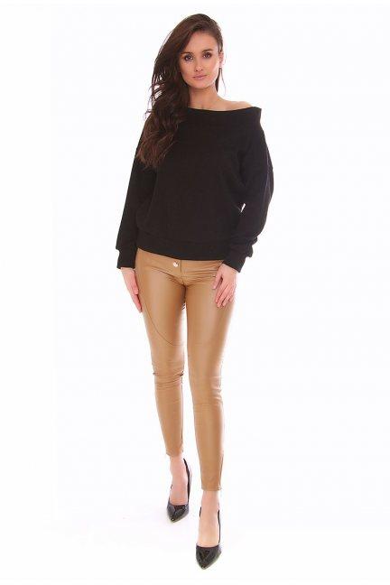Spodnie skórzane rurki CMK142 musztardowe