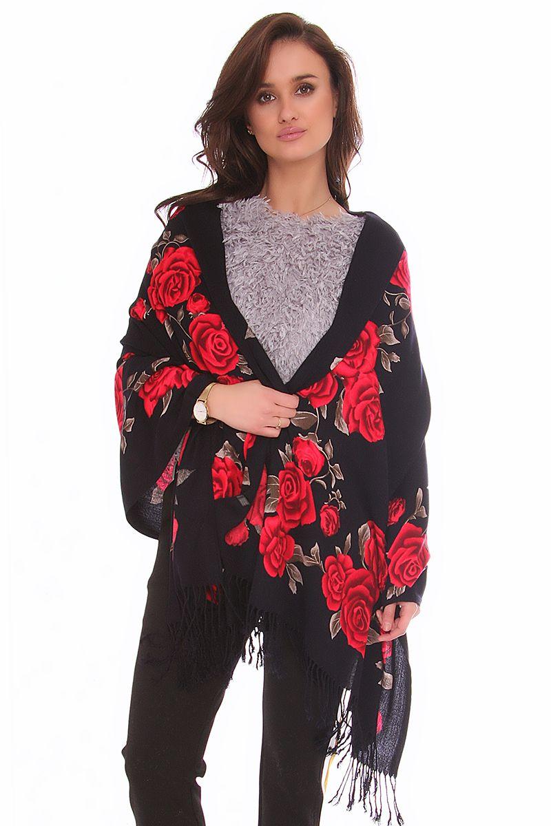 f62389caa252e3 Szal damski czerwone róże CMS06 czarny modne szaliki sklep CosmosModa