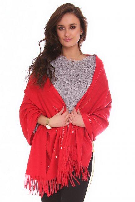 Szalik modny z frędzlami CMS82 czerwony