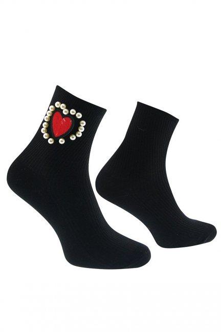 Skarpetki modne serce CS419 czarne