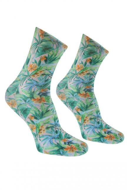 Skarpety modne kwiatki CS465 zielone