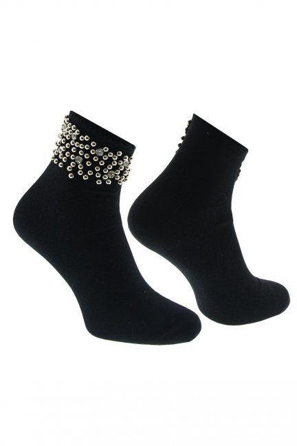 Skarpety modne perełki CS526 czarne