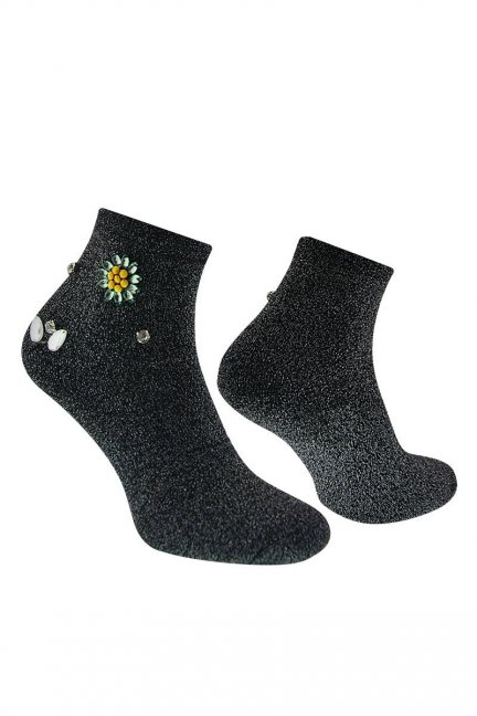 Skarpety modne kwiatek CS533 czarne