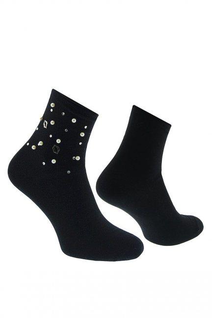 Skarpety modne perełki CS534 czarne