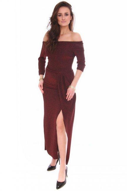 Sukienka dopasowana CMK147 bordowa