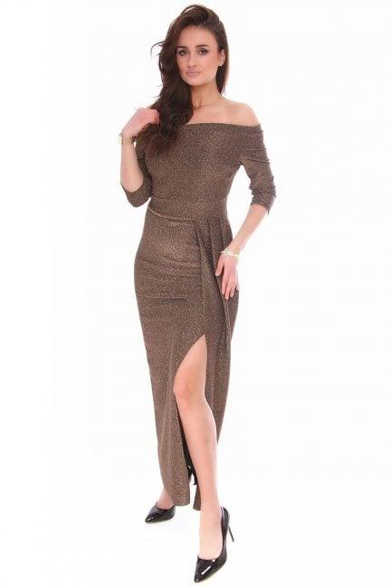 Sukienka dopasowana CMK147 złota