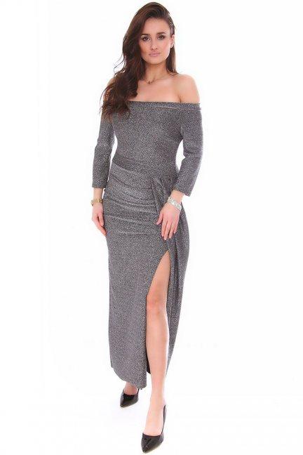 Sukienka dopasowana CMK147 szara