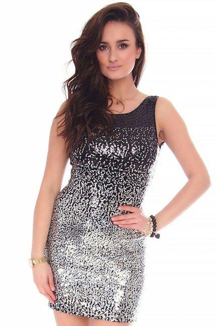 Sukienka modna cekiny CMK148 czarna