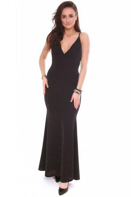 Sukienka syrenka maxi CMK151 czarna