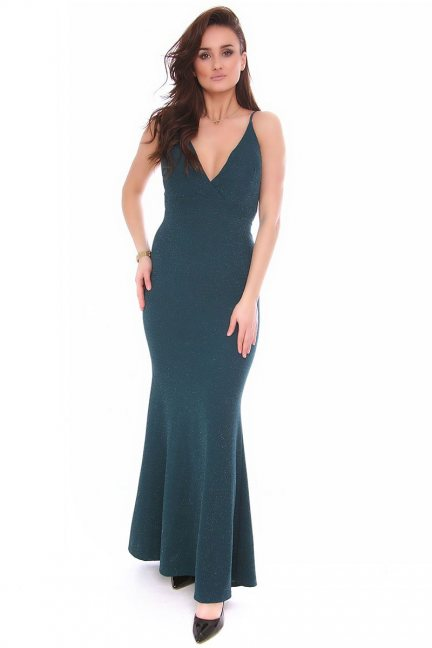 Sukienka syrenka maxi CMK151 zielona