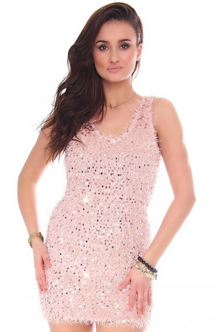 Sukienka mini cekiny CMK152 różowa