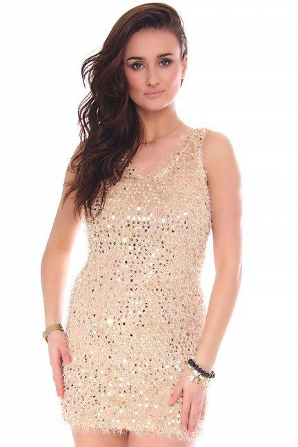 Sukienka mini cekiny CMK152 złota