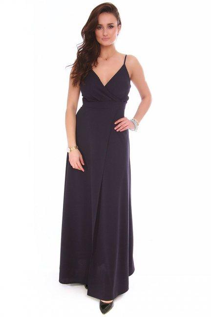 Sukienka modna dekolt CMK153 czarna