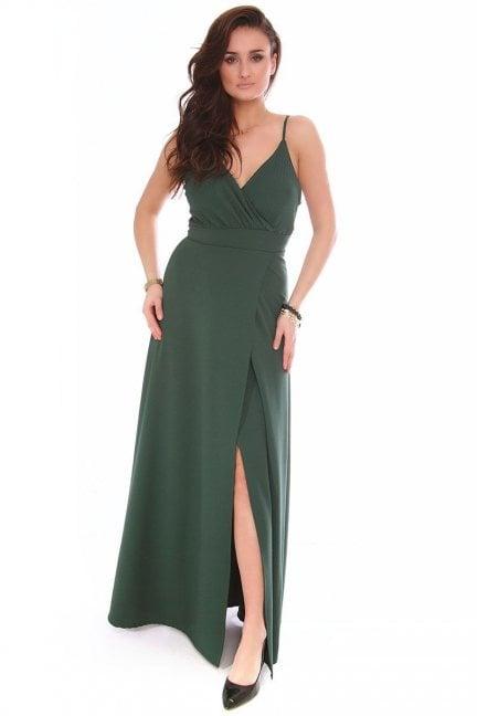 Sukienka modna dekolt CMK153 zielona