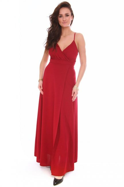 Sukienka modna dekolt CMK153 bordowa