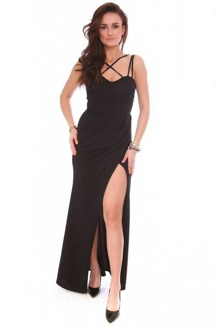 Sukienka wizytowa maxi CMK154 czarna