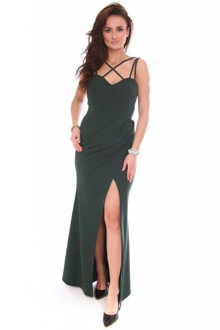 Sukienka wizytowa maxi CMK154 zielona