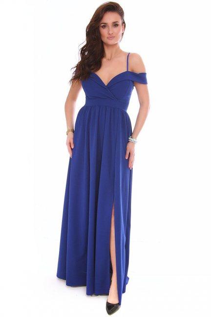 Sukienka damska długa CMK155 chabrowa