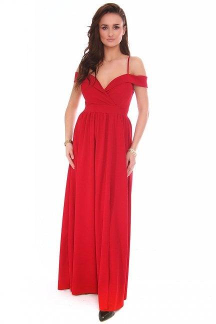 Sukienka maxi rozporek CMK155 czerwona