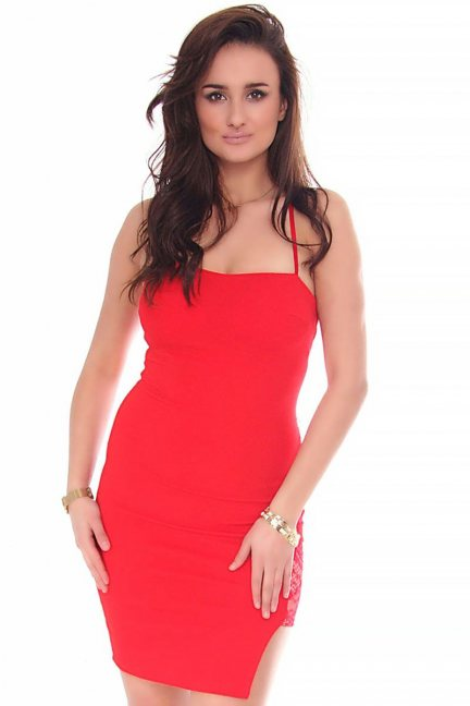 Sukienka damska krótka CMK156 czerwona