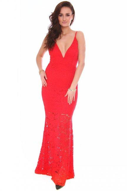 Sukienka maxi koronka CMK157 czerwona