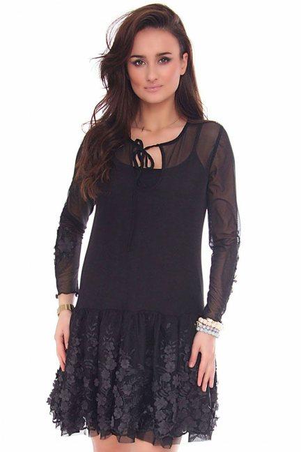 Sukienka falbanka kwiaty CMK158 czarna